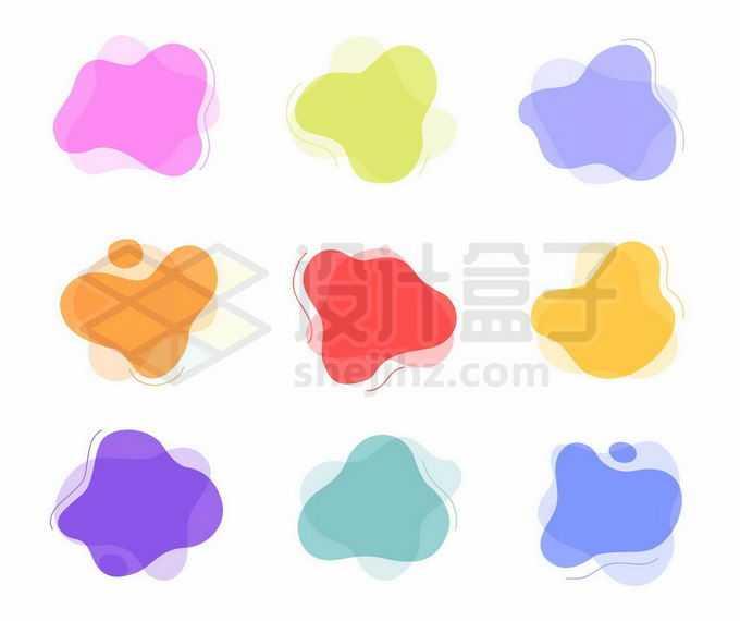 9款彩色不规则形状装饰8149344矢量图片免抠素材免费下载