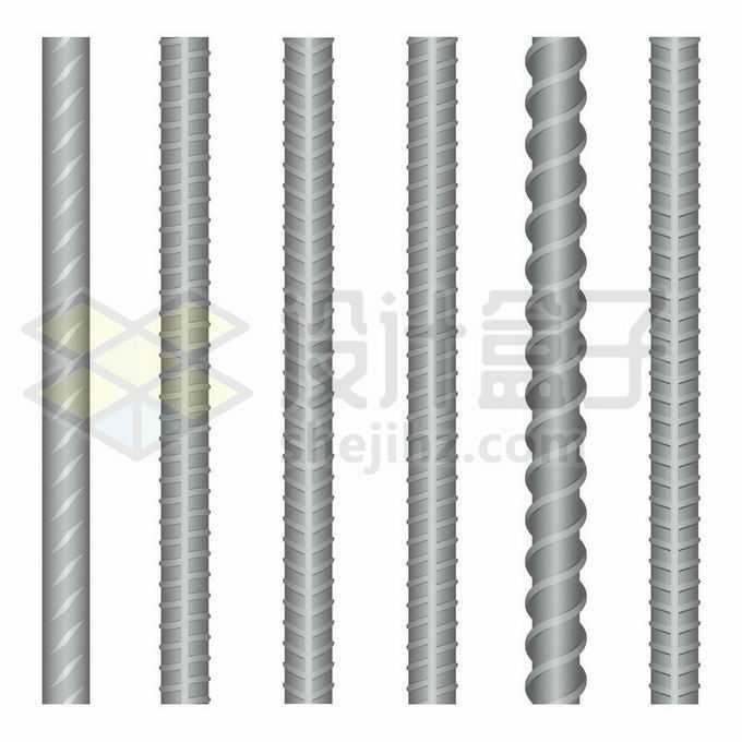 6种螺纹的钢筋建筑材料5130913矢量图片免抠素材