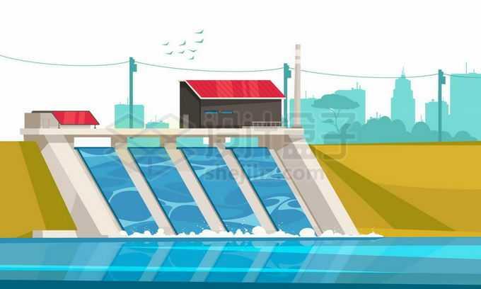 洪水来临大坝正在泄洪8606072矢量图片免抠素材免费下载