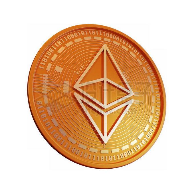 3D立体风格金色金属以太币硬币金币7655204免抠图片素材 金融理财-第1张