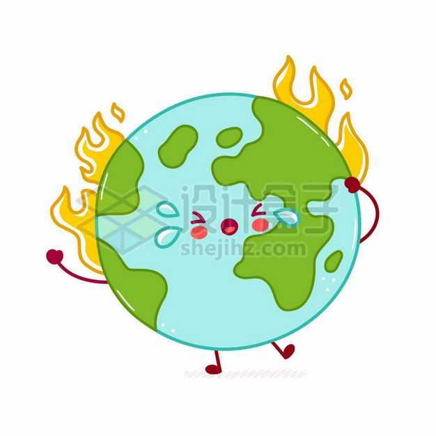 燃烧着火苗冒火的卡通地球象征了全球气候变暖4085231矢量图片免抠素材