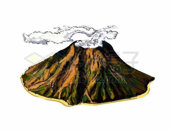 一座火山岛上飘着的云雾彩绘插画4085598矢量图片免抠素材