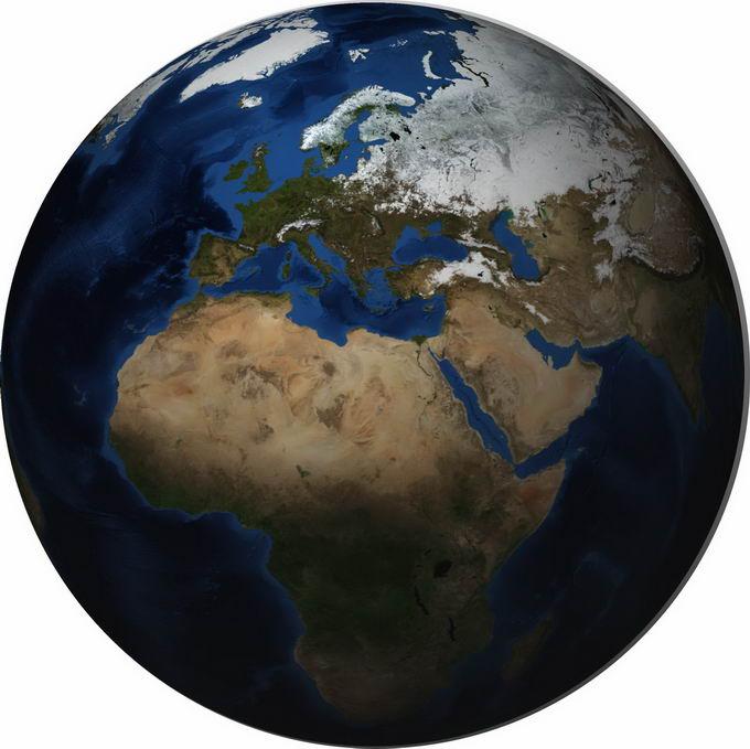 逼真的地球定位在非洲中东和欧洲上空png免抠图片素材 科学地理-第1张