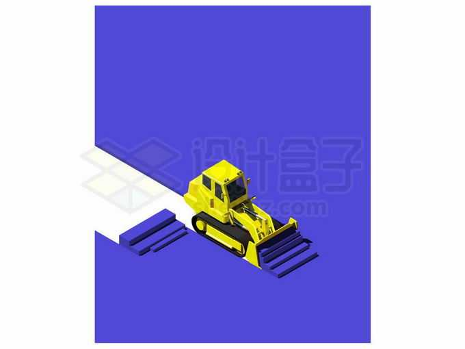 2.5D风格黄色推土机正在推土效果2281343矢量图片免抠素材免费下载