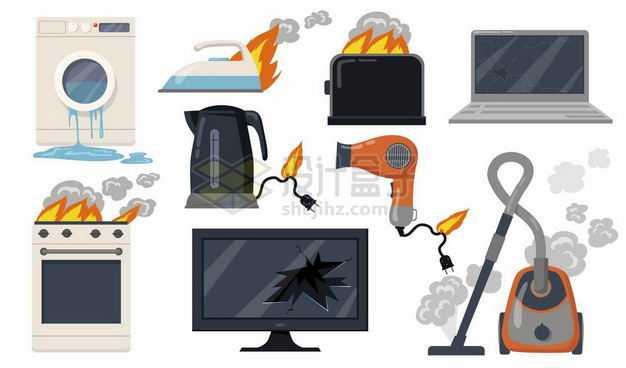 损坏的洗衣机电熨斗面包机电脑烤箱电视机吸尘器电吹风电水壶等电器5429606矢量图片免抠素材