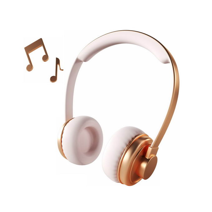 3D立体金色白色头戴式耳机和音乐音符4744327矢量图片免抠素材 IT科技-第1张