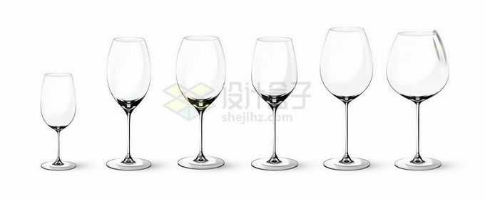 6款不同体态的玻璃杯葡萄酒杯高脚杯4963130矢量图片免抠素材