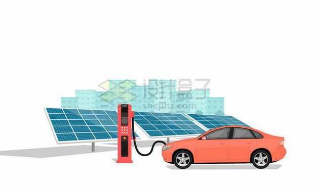 深蓝色的太阳能发电板和使用充电桩充电的新能源电动汽车绿色能源9088303矢量图片免抠素材