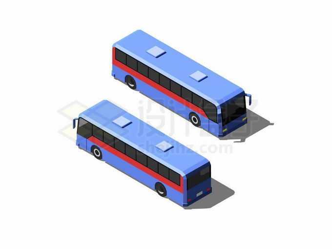 2.5D风格两个不同视角的蓝色大巴车客车汽车9506851矢量图片免抠素材免费下载