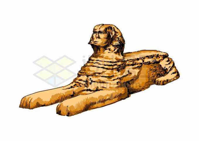 埃及狮身人面像知名景点写实风格水彩插画7561988矢量图片免抠素材免费下载