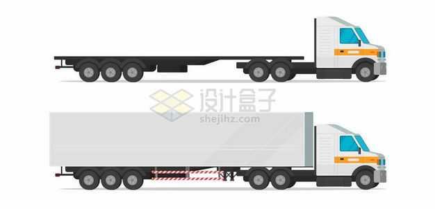 2款平板卡车集装箱货车侧面图7690678矢量图片免抠素材