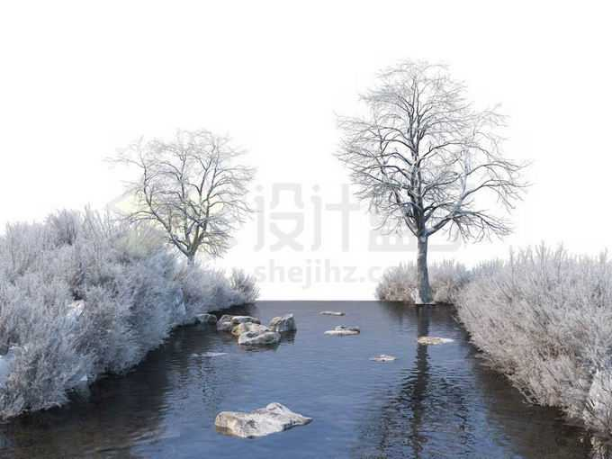 冬天被积雪覆盖的灌木丛和大树以及潺潺流水的小河风景4416145免抠图片素材免费下载