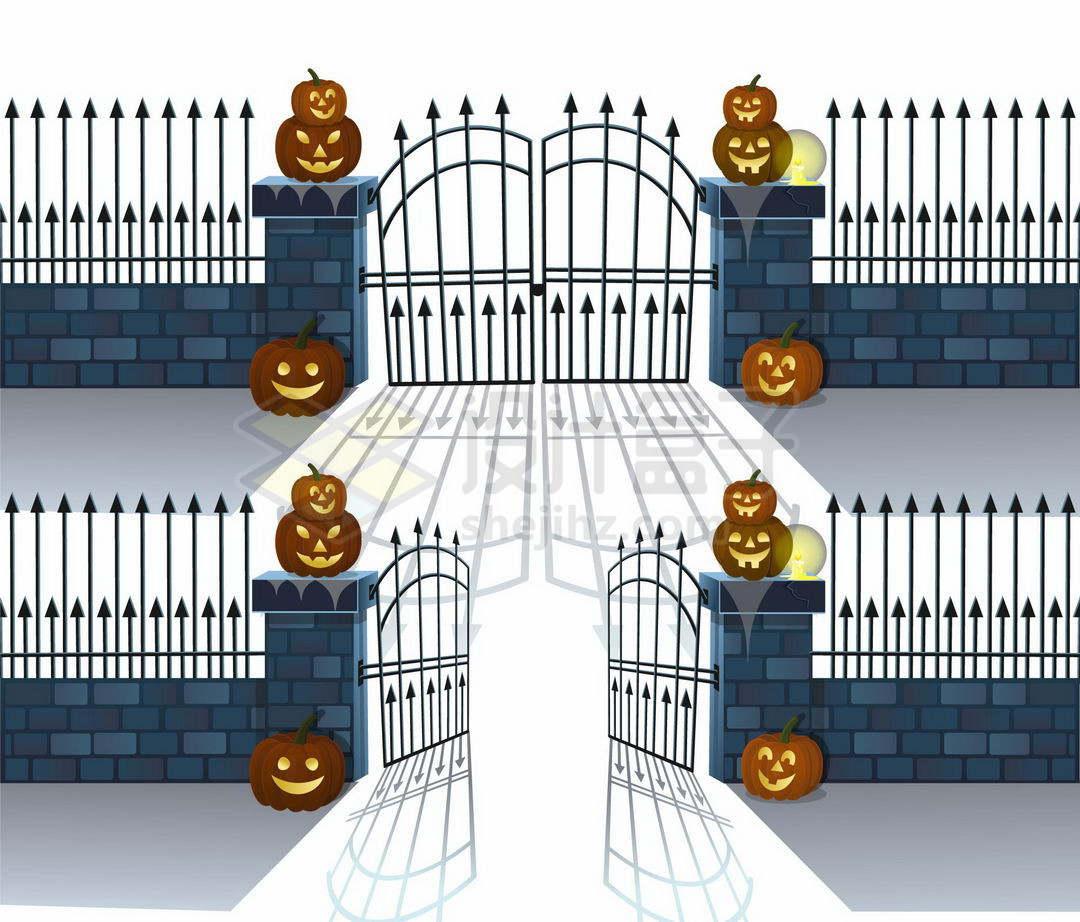 铁门关闭和打开的围栏围墙2055315矢量图片免抠素材