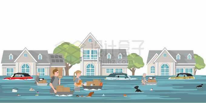 洪水来临以后街道房子车子被淹灾民涉水逃离灾区5736794矢量图片免抠素材免费下载
