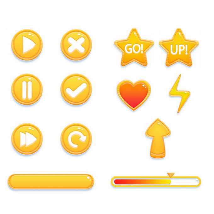橙色黄色风格的卡通播放按钮对号叉号游戏按钮元素1671864图片免抠素材免费下载