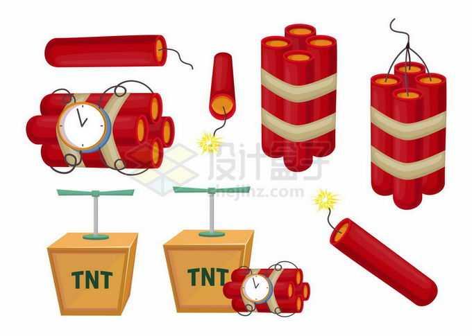 各种红色卡通炸药定时炸弹和木箱中的复古TNT炸药7041711矢量图片免抠素材