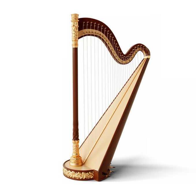 金色的竖琴大型弹弦乐器西洋乐器1956564图片免抠素材免费下载