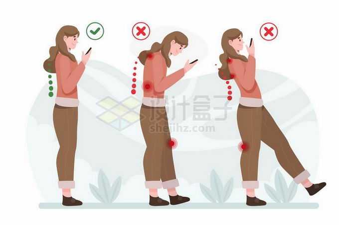 正确和错误的站姿对背部脊柱和膝盖的伤害手绘插画2117610矢量图片免抠素材