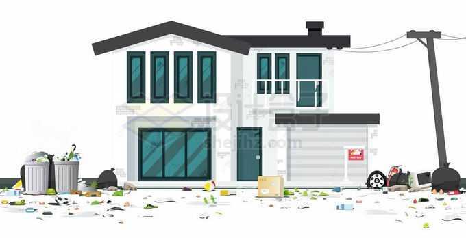 灾害过后满地垃圾的场景和破败的房子1125884矢量图片免抠素材免费下载
