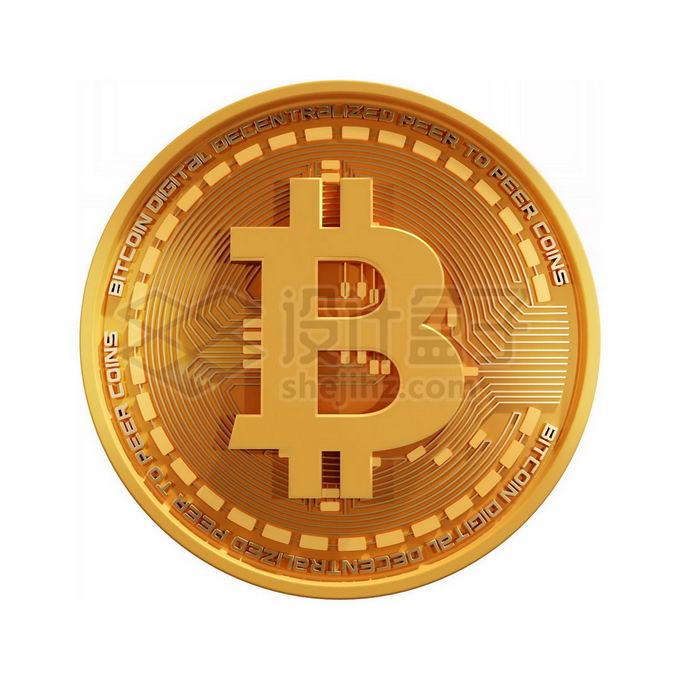 3D立体风格金色金属比特币硬币金币5969565免抠图片素材 金融理财-第1张
