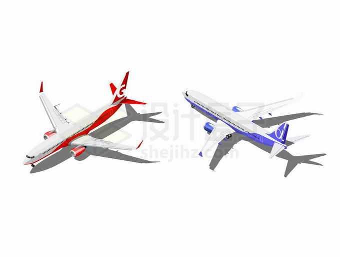 两家红色和紫色涂装的大型客机飞机9259869矢量图片免抠素材免费下载