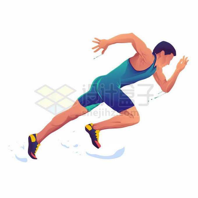 前倾着身体快速奔跑的运动员体育插画3111317矢量图片免抠素材免费下载
