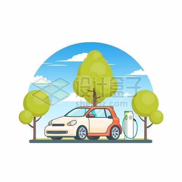 卡通风格绿色大树和正在充电桩充电的新能源电动汽车4294997矢量图片免抠素材