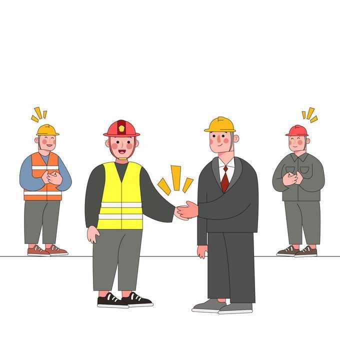身穿工作服的工人合作握手插画2430543矢量图片素材