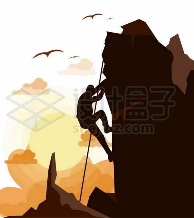 夕阳下正在攀登悬崖峭壁的登山者剪影6991461矢量图片免抠素材免费下载