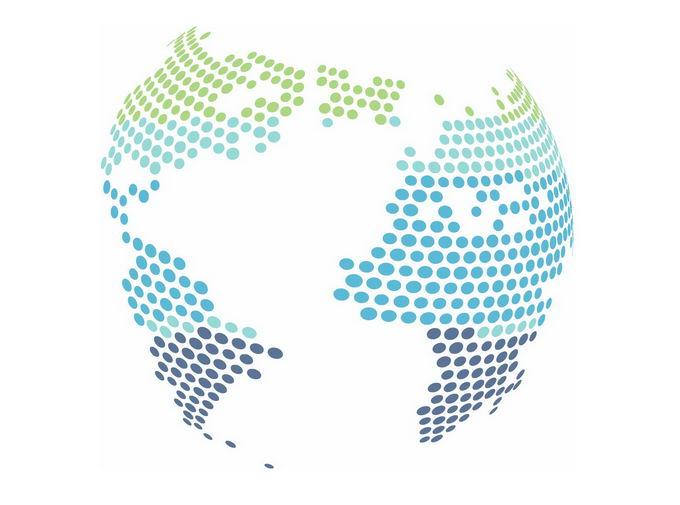 彩色圆点组成的地球图案png免抠图片素材 科学地理-第1张