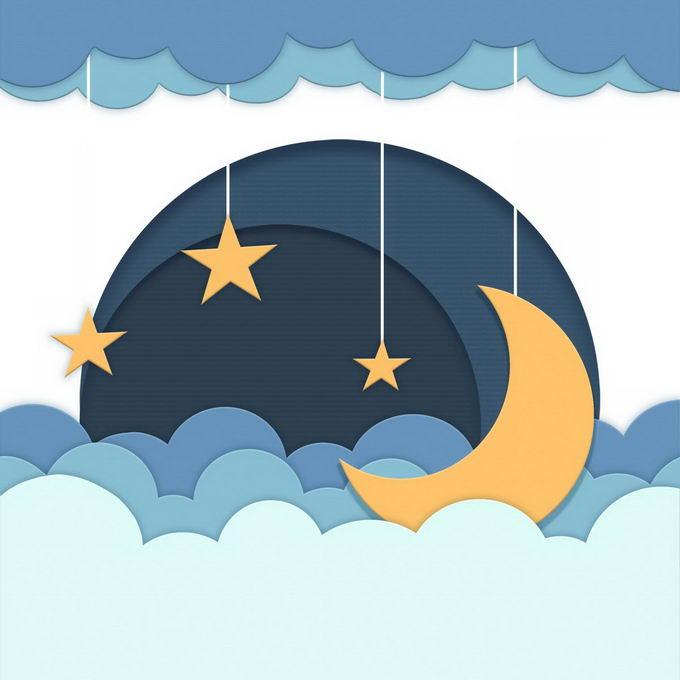 剪纸叠加风格的云朵和弯弯的月亮晚安插图9585254图片免抠素材免费下载 生物自然-第1张