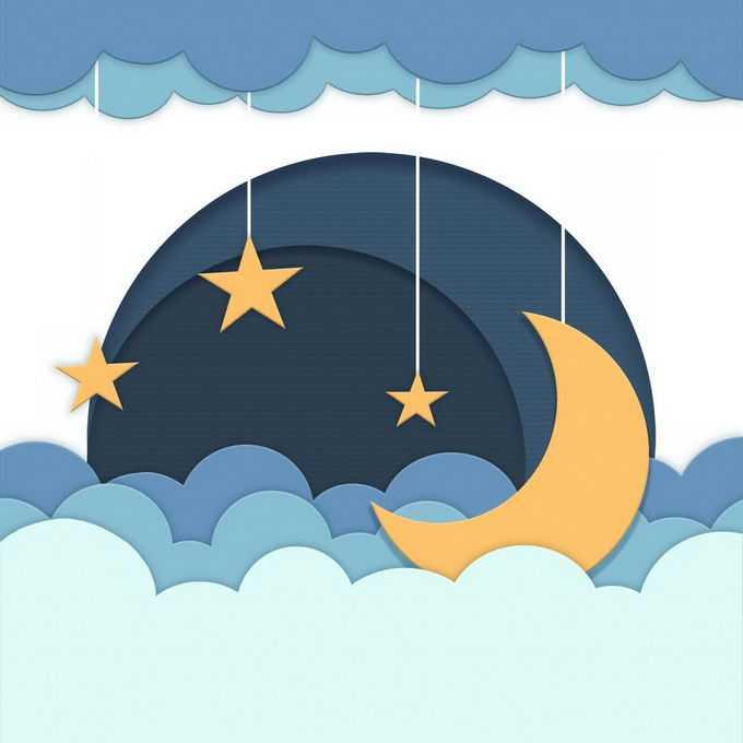剪纸叠加风格的云朵和弯弯的月亮晚安插图9585254图片免抠素材免费下载