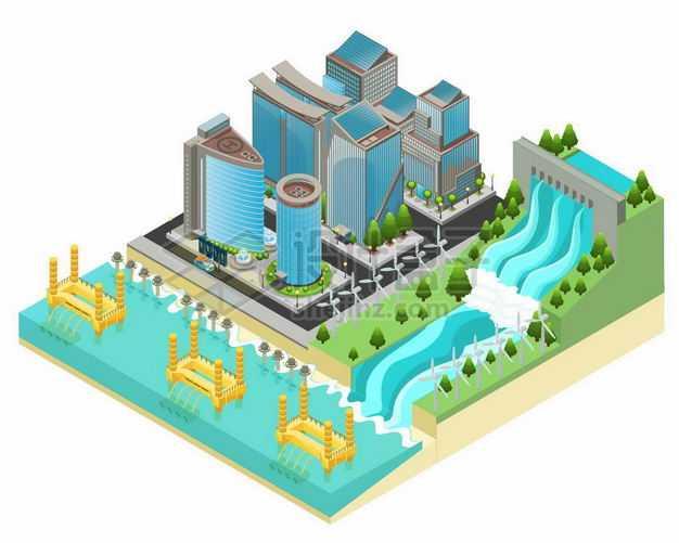 2.5D风格水力发电站潮汐发电和绿色环保城市5125183矢量图片免抠素材