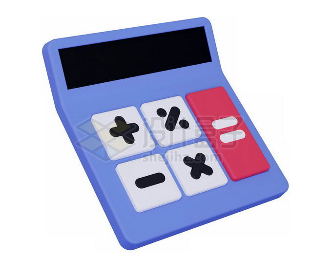 3D立体风格紫色卡通科学计算器3842490免抠图片素材 IT科技-第1张
