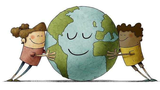 两个卡通小人儿抱着地球保护地球手绘插画png免抠图片素材 科学地理-第1张