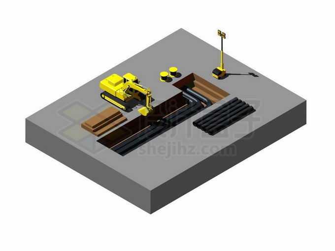 2.5D风格黄色挖掘机正在埋地下管道施工现场8024788矢量图片免抠素材免费下载