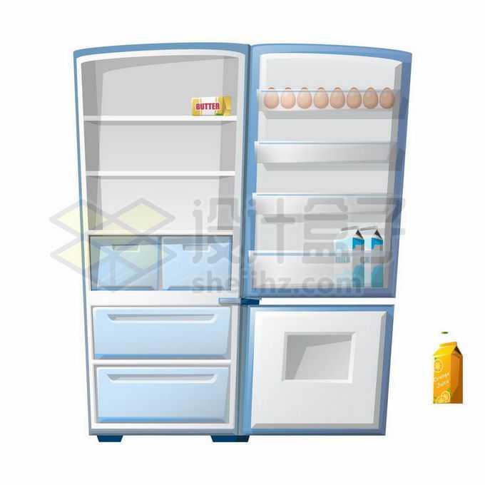 一款打开的淡蓝色卡通电冰箱家用电器3531532矢量图片免抠素材
