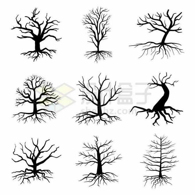 9款枯树树干树冠和树根树叶剪影图案8773210矢量图片免抠素材
