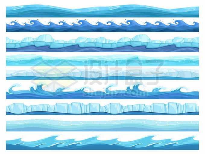 9款蓝色的海浪波浪和冰山蓝色水面效果9810716矢量图片免抠素材免费下载
