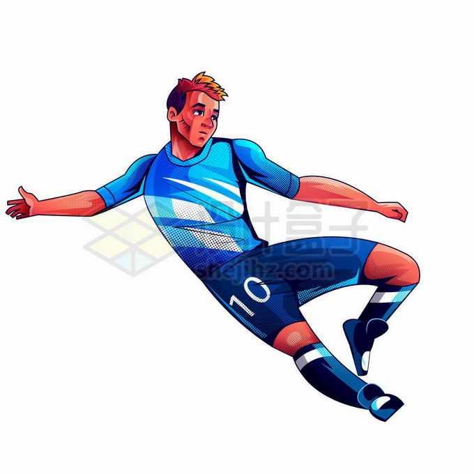 踢足球的运动员球员手绘漫画插画1882497矢量图片免抠素材