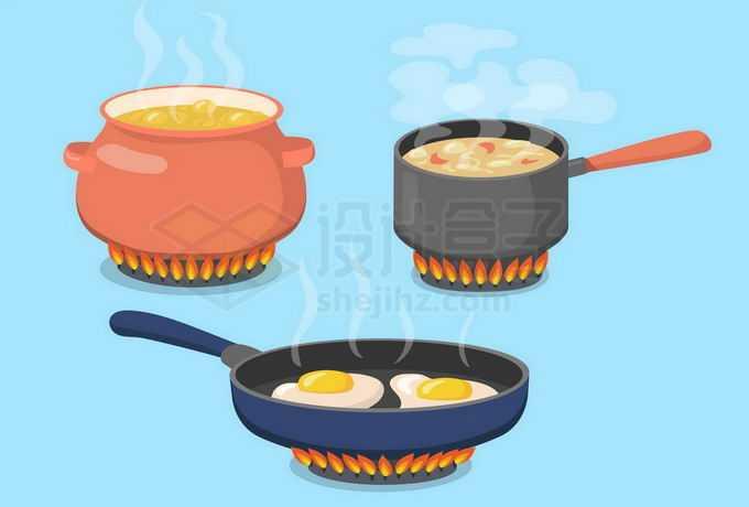 煤气灶上放着的三口煎锅炖锅和瓦罐正在烹饪美食5724918矢量图片免抠素材免费下载