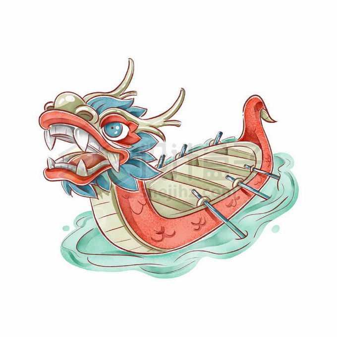手绘风格红色彩色龙舟1681104矢量图片免抠素材
