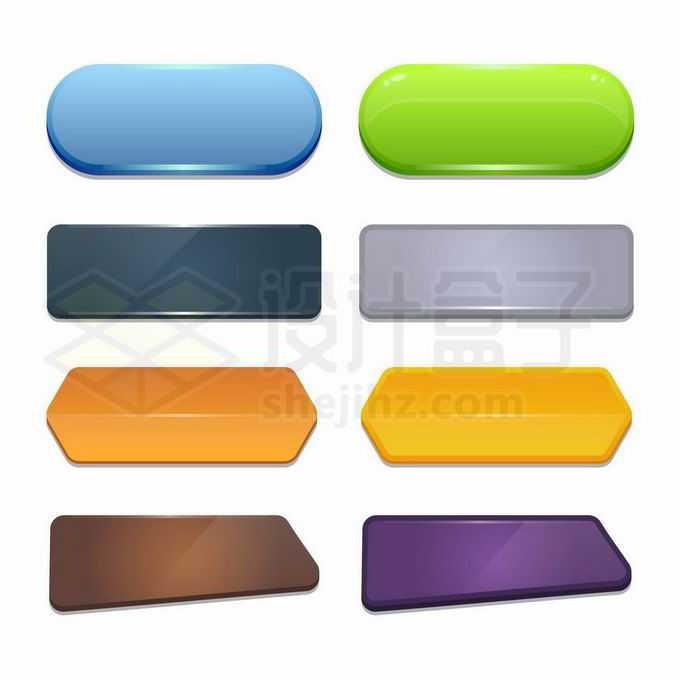8款各种形状的水晶按钮卡通按钮游戏按钮9836600矢量图片免抠素材免费下载