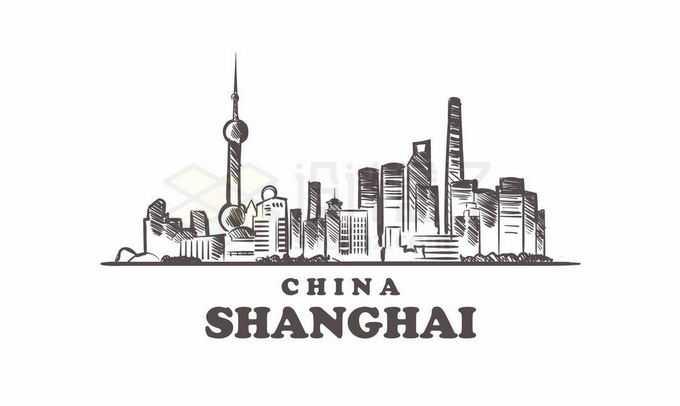 黑色线条陆家嘴上海城市地标建筑手绘插画3732330矢量图片免抠素材免费下载