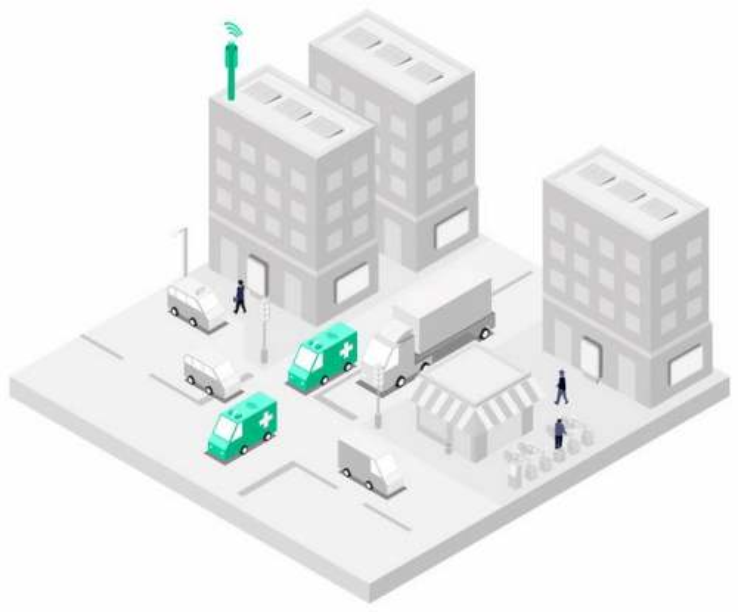 2.5D风格银灰色的城市街景模型和救护车以及5G技术在医疗行业的应用1115748png图片素材