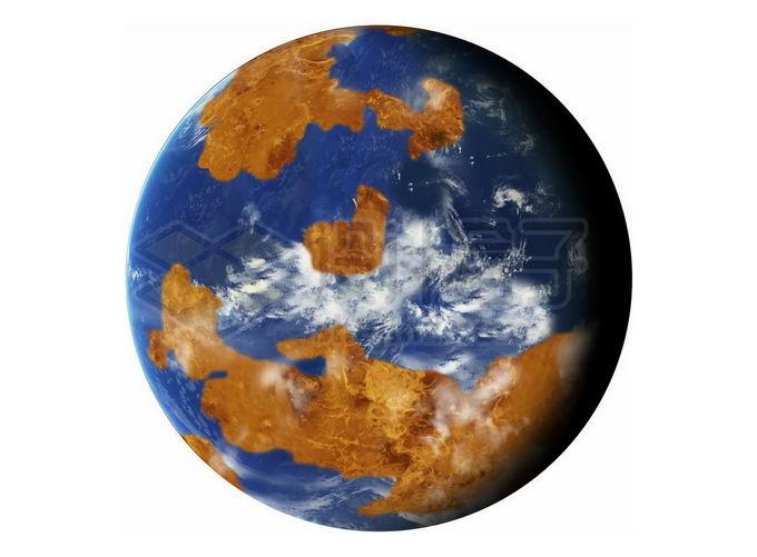 拥有海洋的宜居星球金星想象图png免抠高清图片素材 科学地理-第1张
