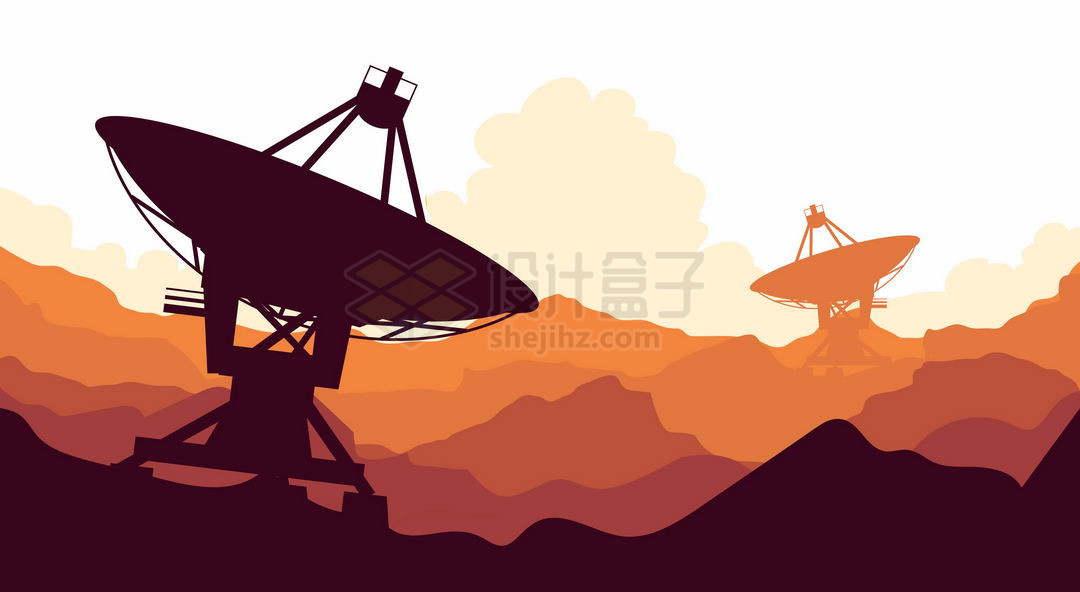 红色山峦起伏山顶上红岸基地里的射电望远镜巨大的天线手绘插画9202246矢量图片免抠素材