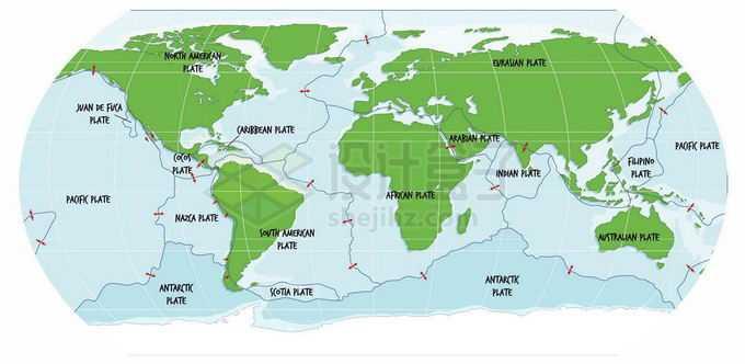 世界板块分布板块构造学说绿色世界地图8169338矢量图片免抠素材免费下载
