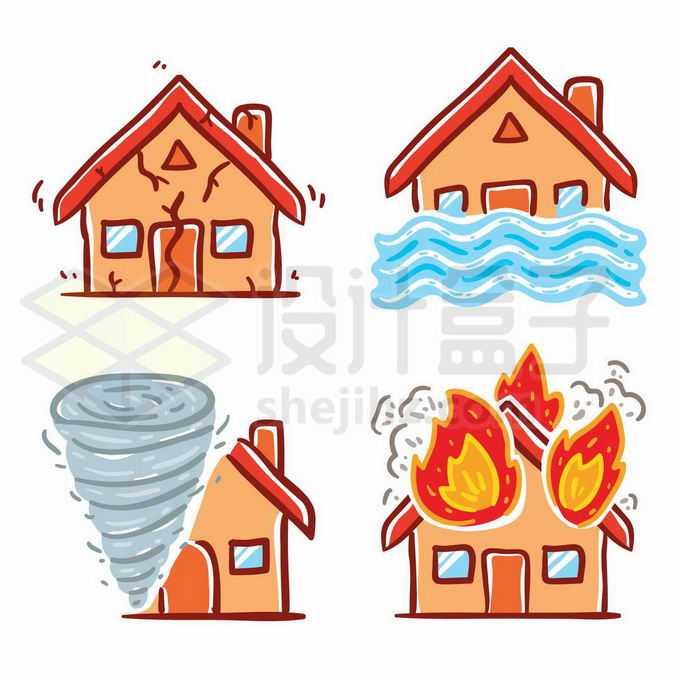 4款地震洪水龙卷风和火灾等自然灾害插画5329518矢量图片免抠素材免费下载