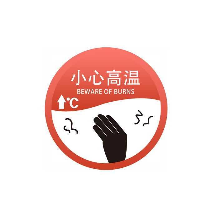 小心高温圆形警示警告标识标志9862349图片免抠素材免费下载
